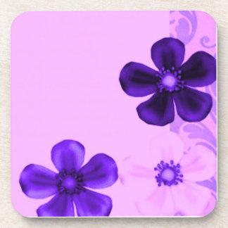Retro Vintage Flowers Lavender Purple Cork Coaster