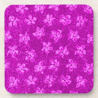 Retro Vintage Flowers Magenta Pink Cork Coaster