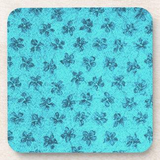 Retro Vintage Flowers Powder Blue Cork Coaster