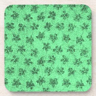 Retro Vintage Flowers Powder Green Cork Coaster