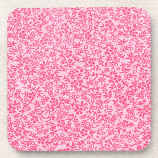 Retro Vintage Flowers Red Cork Coaster