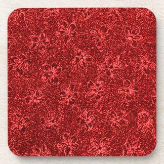 Retro Vintage Flowers Red Cork Coaster