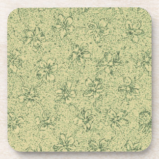 Retro Vintage Flowers Sage Green Cork Coaster