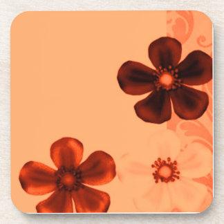 Retro Vintage Flowers Tangerine Cork Coaster