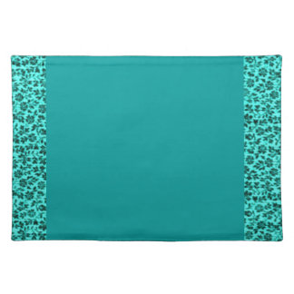 Retro Vintage Flowers Teal Boardered Placemats