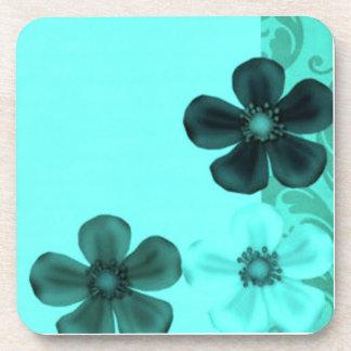 Retro Vintage Flowers Teal Cork Coaster