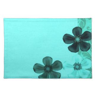 Retro Vintage Flowers Teal Placemats