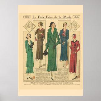 Retro vintage French  Fashion 1931 Poster