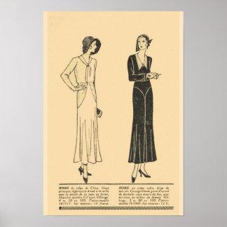 Retro vintage French  Fashion,Day dresses 1931 Poster