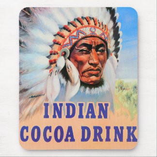 Retro Vintage French Kitsch Indian Cocoa Drink Art Mouse Pad