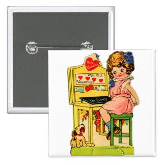 Retro Vintage German Valentine I'm Smart Girl Pinback Button