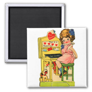Retro Vintage German Valentine I'm Smart Girl Magnet