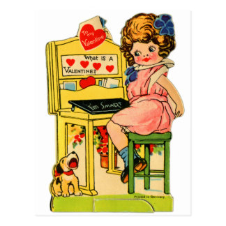 Retro Vintage German Valentine I'm Smart Girl Postcard