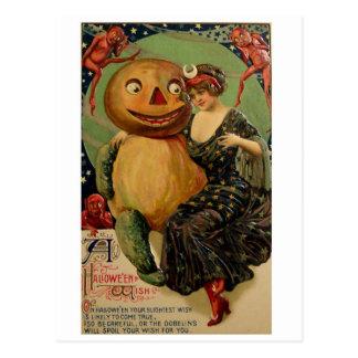 Retro Vintage Halloween Pumpkin Hug Postcard