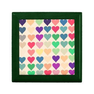 Retro vintage heart tiled heart pattern colorful trinket box