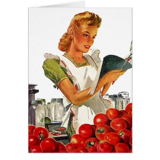 Retro Vintage Home Canning Pretty Lady Blank Cards