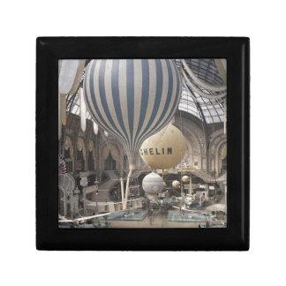Retro Vintage Hot Air Balloon Small Square Gift Box