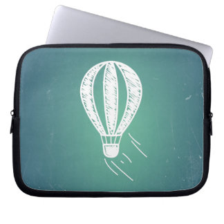 Retro Vintage Hot Air Balloon Turquoise Background Laptop Computer Sleeves