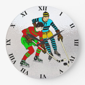 Retro Vintage Ice Hockey Players Old Comics Style Large Clock