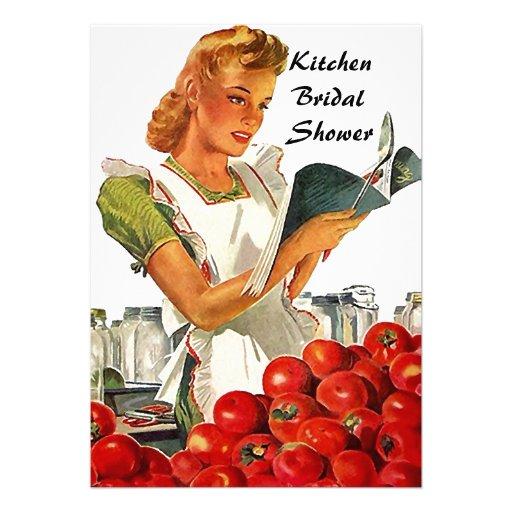 Retro Vintage Kitchen Bridal Shower Invitations