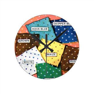 Retro Vintage Kitsch 30s Cloth Fabrics Polka Dot Round Wall Clock