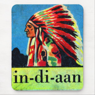 Retro Vintage Kitsch 30s Dutch Indian in-di-aan Mouse Pad