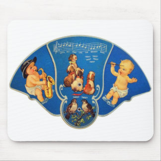 Retro Vintage Kitsch 30s Mucisal Babies Fan Mouse Pad