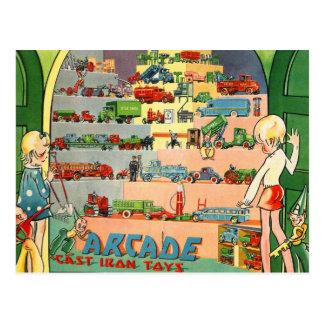 Retro Vintage Kitsch 30s Toy Arcade Cast Iron Toys Postcard