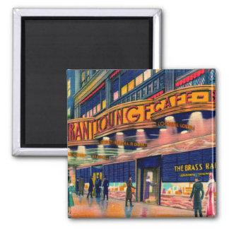 Retro Vintage Kitsch 40s Brass Rail New York Square Magnet