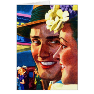 Retro Vintage Kitsch 40s Couple Stepping Out Card