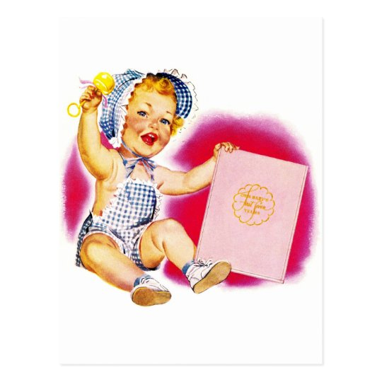 Retro Vintage Kitsch 40s Happy Baby With Rattle Postcard