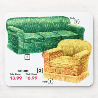 Retro Vintage Kitsch 40s Sofa Chair Davenport Set Mouse Pad