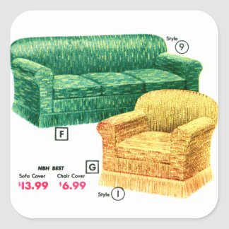 Retro Vintage Kitsch 40s Sofa Chair Davenport Set Square Sticker
