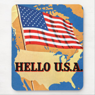 Retro Vintage Kitsch 50s America Hello USA Flag Mouse Pad