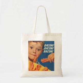 Retro Vintage Kitsch 50s Bacon, Bacon, Bacon! Ad Budget Tote Bag