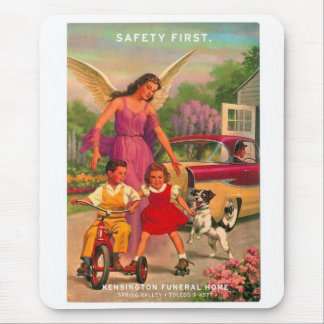 Retro Vintage Kitsch 50s Funeral Home Safety Card Mouse Pad