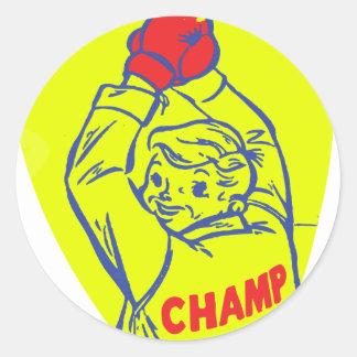 Retro Vintage Kitsch 50s Junior Boxing Champ Art Classic Round Sticker