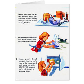 Retro Vintage Kitsch 50s Kids Recipe Cooking Tips Greeting Cards