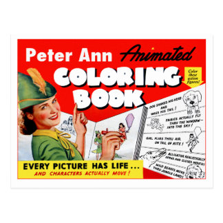 Retro Vintage Kitsch 50s Peter Ann Coloring Book Postcard