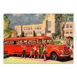 Retro Vintage Kitsch 50s School Kid Red School Bus Greeting Card