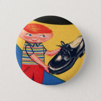 Retro Vintage Kitsch 50s Shoe Shine Boy Ad Art 6 Cm Round Badge
