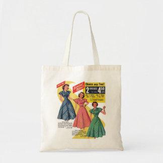 Retro Vintage Kitsch 50s Woman Dresses Fashion Ad Tote Bag