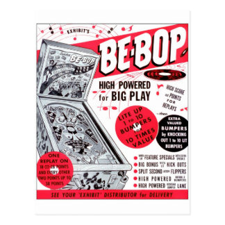 Retro Vintage Kitsch 60s Be-bop Pinball Machine Ad Postcard