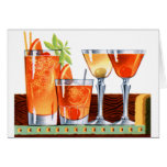 Retro Vintage Kitsch 60s Cocktails Drinks Martinis Card