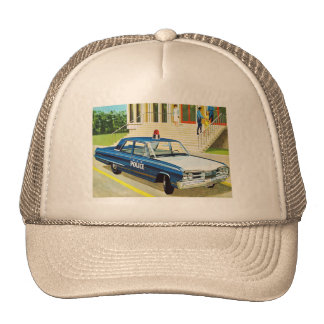 Retro Vintage Kitsch 60s Cops Police Car Cruiser Trucker Hats