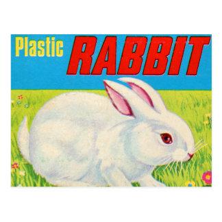Retro Vintage Kitsch 60s Plastic Rabbit Toy Postcard