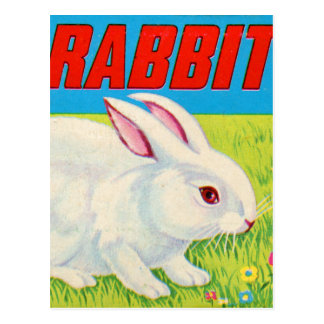 Retro Vintage Kitsch 60s Plastic Rabbit Toy Postcard