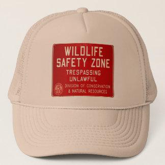 Retro Vintage Kitsch 60s Wildlife Safety Zone Sign Trucker Hat