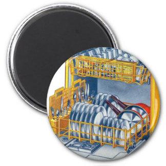 Retro Vintage Kitsch 70s Dishwasher 6 Cm Round Magnet