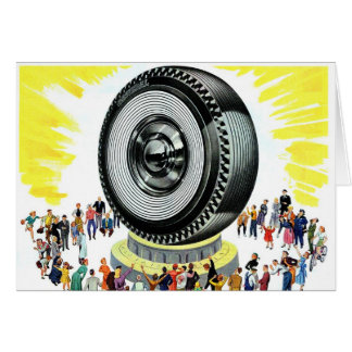 Retro Vintage Kitsch Ad Giant Tire Worship Card
